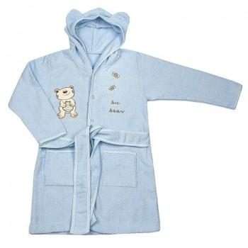 Детски халат с качулка - мече син