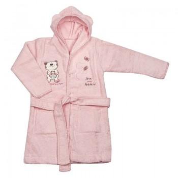 Детски халат с качулка - мече светло розов