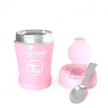 Контейнер за храна от неръждаема стомана Twistshake 6+ месеца розов