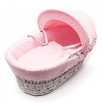 Плетена бебешка кошница със сенник - розова