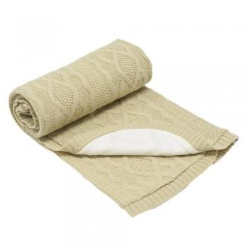 Бебешко одеяло плетено - ромбоиди бежово