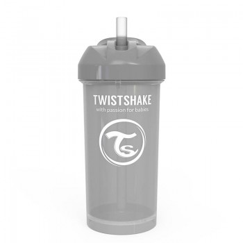 Чаша със сламка Twistshake - 360 ml 12+ месеца сива