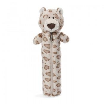 Детски плюшен несесер - снежен леопард - за момче, 25 см