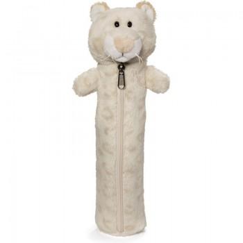 Детски плюшен несесер - снежен леопард - за момиче, 25 см